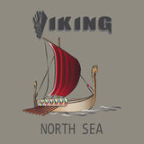 Viking ship. North sea. Emblem. Design for textiles, printing on fabric and paper Royalty Free Stock Photos