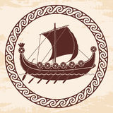 Viking ship with oars and shields. Stock Photo