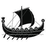 Viking ship with oars and shields. Stock Photography