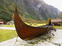 Viking Ship. Old wooden viking ship near the fjord, Gudvangen. Norway royalty free stock photos