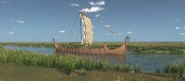 Viking ship on a river. Computer generated 3D illustration with a Viking ship on a river stock illustration