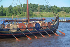 Viking ship on the river Royalty Free Stock Photography