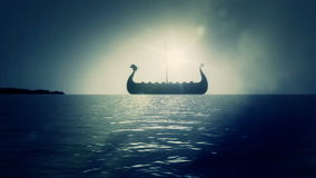 Viking Ship Sailing Slowly on Sea to Shore Reaching Land