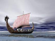 Viking Ship at Sea Stock Image