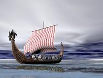 Viking Ship at Sea Stock Image