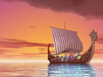 Viking Ship at Sea Stock Photo