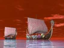 Viking Ship at Sea Stock Photography