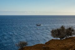 Viking ship on the sea Royalty Free Stock Photo