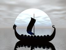 Viking Ship Silhouette. D by the moon Stock Images