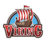 Viking ship sport logo. Colored  on white background Stock Photos
