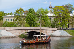 Viking ship. ST. PETERSBURG, RUSSIA - MAY 27, 2017: Viking ship in Kronverkskiy duct at the festival `Legends of the Norwegian Vikings` on City Day Royalty Free Stock Photo