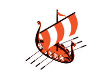 Viking ship. Viking war ship  illustration Stock Image