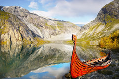 Norway Viking Ship Fjord. Viking wooden ship on the coast. Norway Stock Photography