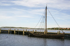 Viking ships in the fjiord of Roskilde Stock Photos