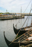 Viking ships in the fjiord of Roskilde Stock Photo