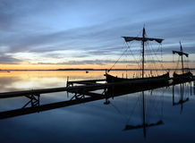Viking ships. In port an early morning Stock Photo