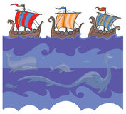 Viking ships and sea monsters. vector illustration