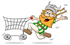 Viking while shopping with shopping cart Stock Images