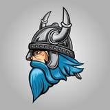 Viking Side View Logo Mascot Vector Illustration stock illustration
