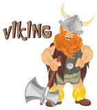 Viking and signs. Happy viking hold an ax and stand with word viking Stock Image