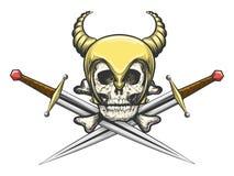 Viking Skull in casco con le spade illustrazione di stock