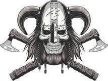 Viking Skull dans le casque Photo stock