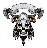 Viking Skull in helm vector illustratie