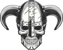 Viking Skull in helmet Stock Photos