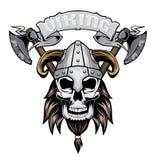 Viking Skull i hj?lm vektor illustrationer
