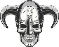 Viking Skull no capacete Fotos de Stock