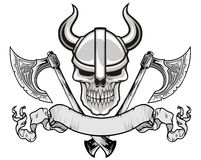 Viking skull. Wearing a war helmet with axes and scroll