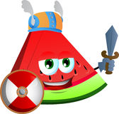 Viking slice of watermelon with sword Stock Images
