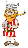 Viking with a smartphone Royalty Free Stock Photo