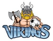 Viking Soccer Football Sports Mascot illustrazione di stock