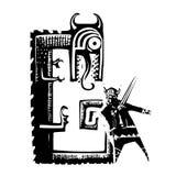 Viking som slåss en drake arkivbild