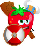 Viking strawberry with a club and shield Royalty Free Stock Photo