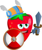 Viking strawberry with sword Royalty Free Stock Photography
