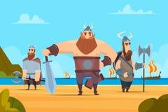 Viking-strijdersachtergrond Middeleeuws authentiek militair vector het beeldverhaallandschap van karakters Noors mensen royalty-vrije illustratie