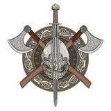 Viking-Sturzhelm, gekreuzte Wikinger-Äxte und in einem Kranz des skandinavischen Musters und des Wikinger-Schildes stock abbildung