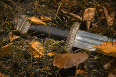 Viking sword against the backdrop of autumn leaves Royalty Free Stock Images