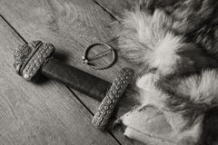 Viking sword on a fur Royalty Free Stock Photography