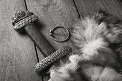 Viking sword on a fur Royalty Free Stock Image