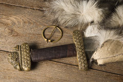 Viking sword on a fur Stock Image