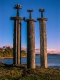 Viking swords. Three Swords Monument in Stavanger, Norway Stock Photography