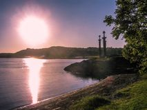 Viking swords. Three Swords Monument at sunset. In Stavanger, Norway Royalty Free Stock Photography