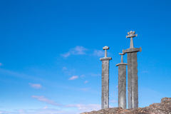 "Viking swords. The three swords ""Sverd i Fjel"", Stavanger, Norway Stock Photography"