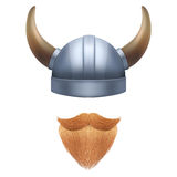 Viking symbol with horned helmet and beard. Viking symbol with horned helmet and ginger beard.  illustration isolated on white background Royalty Free Stock Image