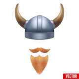 Viking symbol with horned helmet and beard. Vector illustration isolated on white background Royalty Free Stock Images