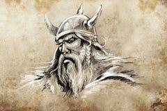 Viking, tatuażu nakreślenie, handmade projekt royalty ilustracja
