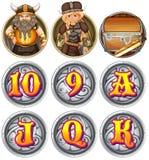 Viking tecken och nummer på emblem Fotografering för Bildbyråer